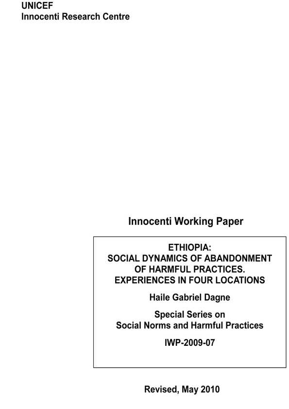 Ethiopia: Social dynamics of abandonment of harmful practices. Experiences in four locations
