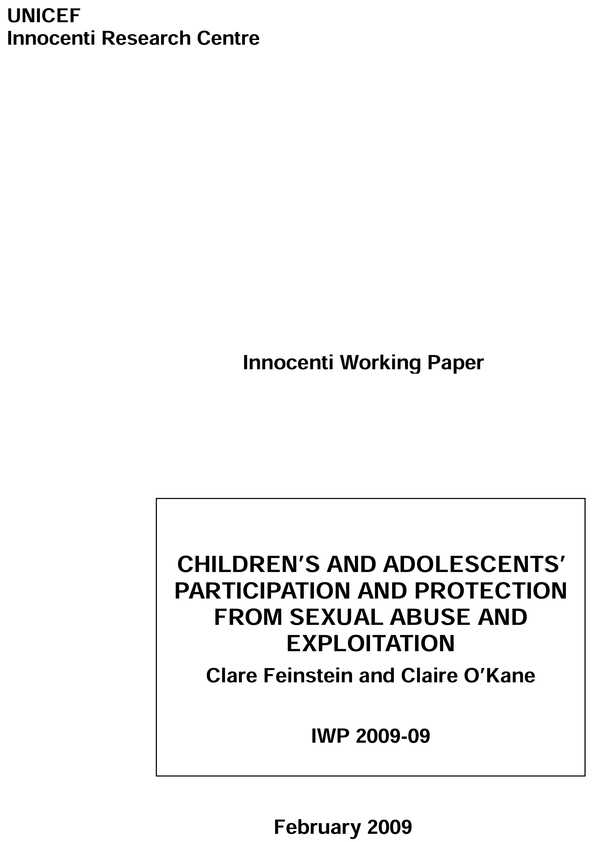 Children's and Adolescents' Participation and Protection from Sexual Abuse and Exploitation