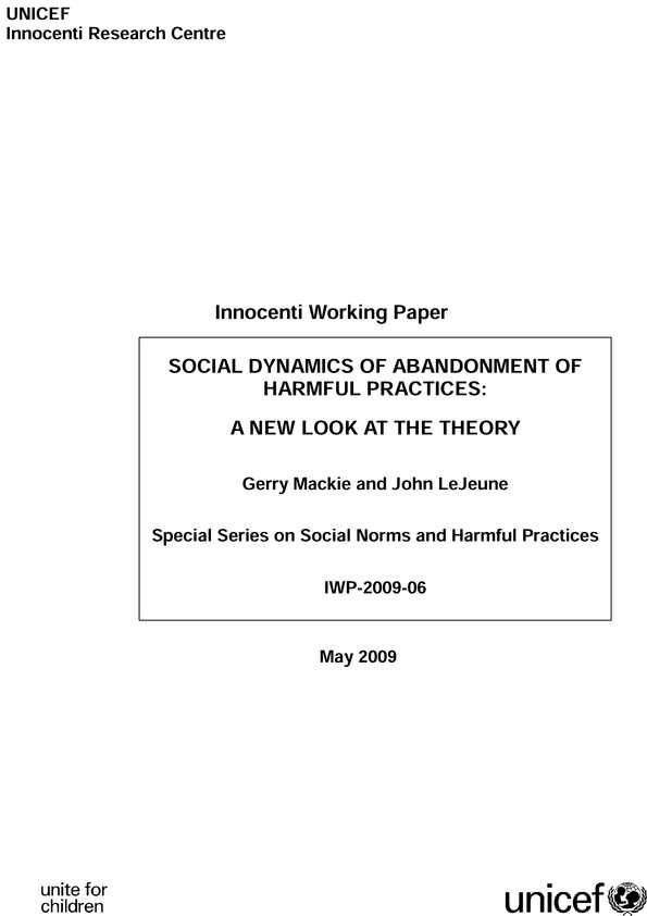 Social Dynamics of Abandonment of Harmful Practices: A new look at the theory