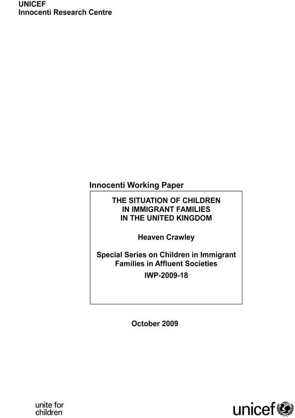 The Situation of Children in Immigrant Families in the United Kingdom