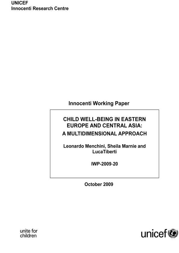 Child Well-being in Eastern Europe and Central Asia: A multidimensional approach