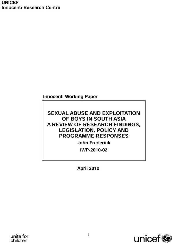 Sexual Abuse and Exploitation of Boys in South Asia. A review of research findings, legislation, policy and programme responses