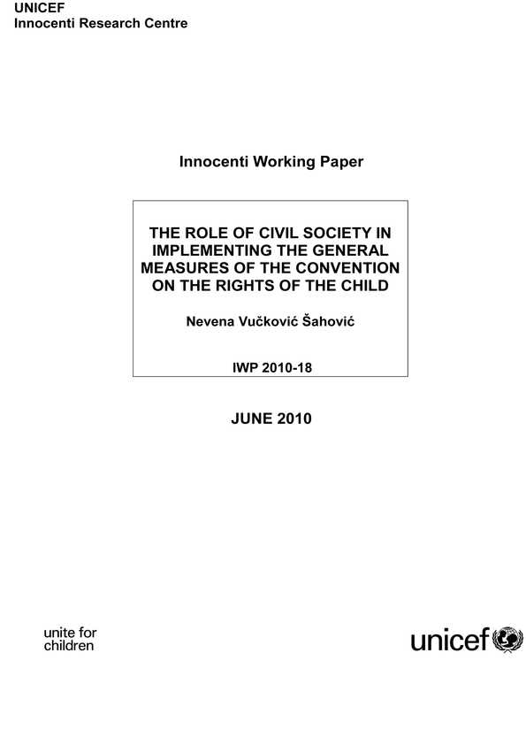 The Role of Civil Society in Implementing the General Measures of the Convention on the Rights of the Child