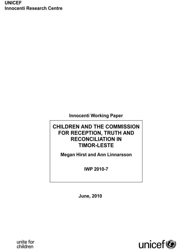 Children and the Commission for Reception, Truth and Reconciliation in Timor-Leste