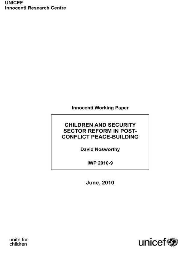Children and Security Sector Reform in Post-conflict Peace-building