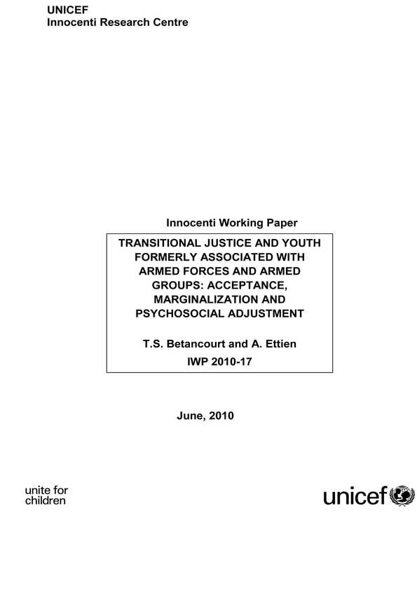 Transitional Justice and Youth Formerly Associated with Armed Forces and Armed Groups: Acceptance, marginalization and psychosocial adjustment