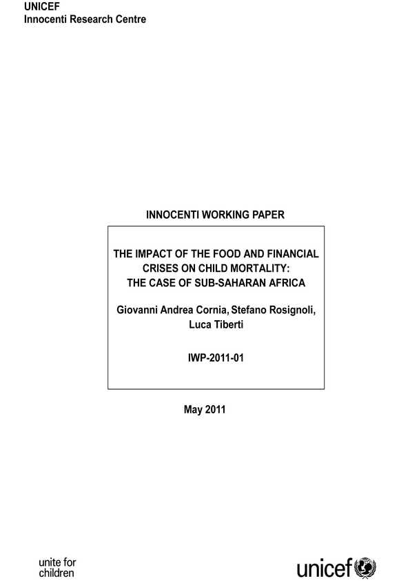 The Impact of the Food and Financial Crises on Child Mortality: The case of sub-Saharan Africa