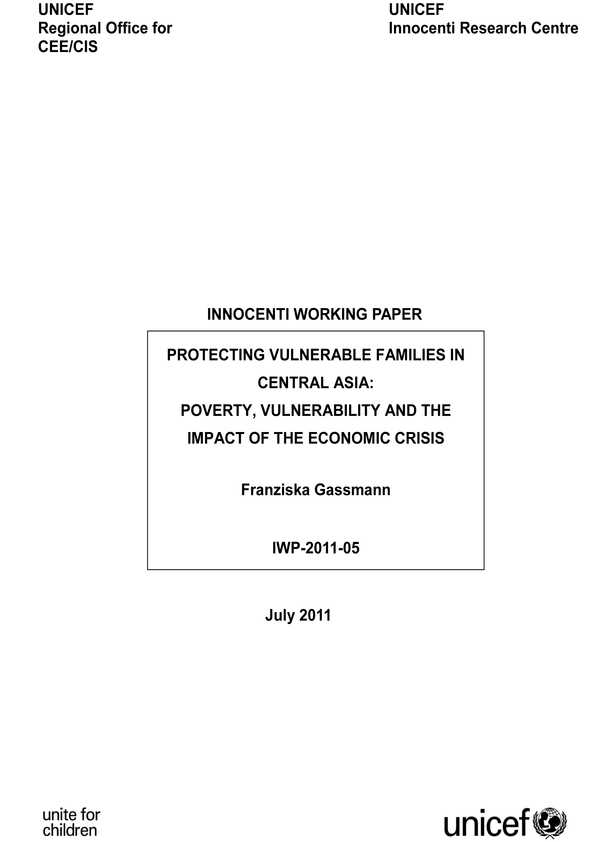 cover Protecting Vulnerable Families in Central Asia: Poverty, vulnerability and the impact of the economic crisis