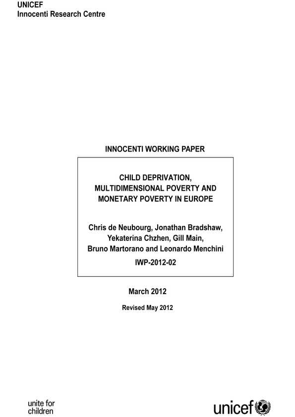 cover Child Deprivation, Multidimensional Poverty and Monetary Poverty in Europe