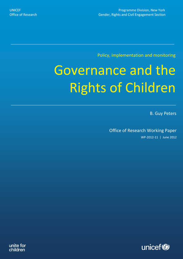 Governance and the Rights of Children: Policy, implementation and monitoring