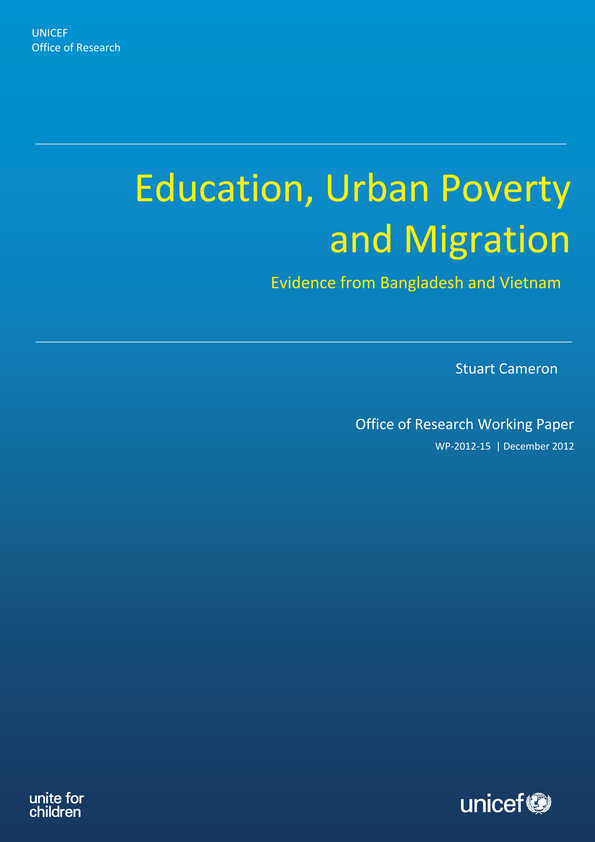 Education, Urban Poverty and Migration: Evidence from Bangladesh and Vietnam