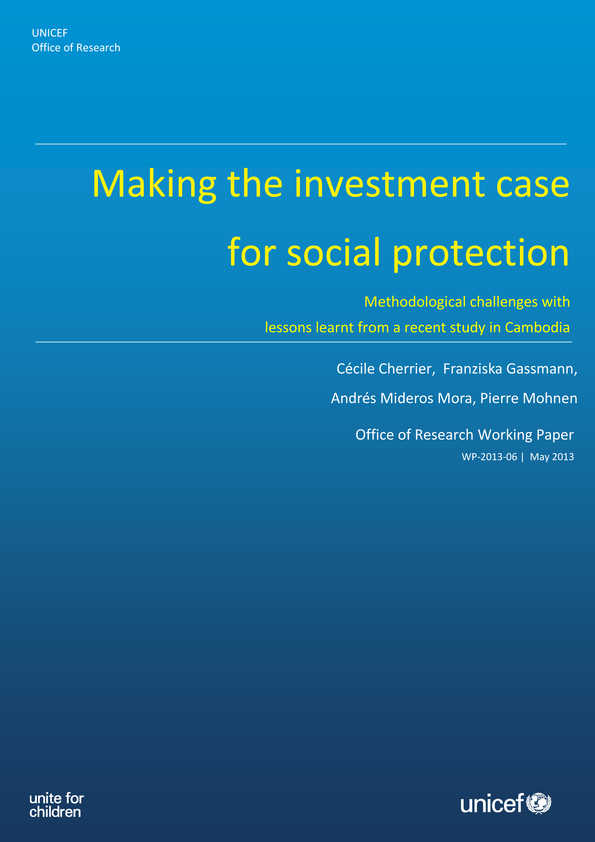 Making the Investment Case for Social Protection: Methodological challenges with lessons learnt from a recent study in Cambodia