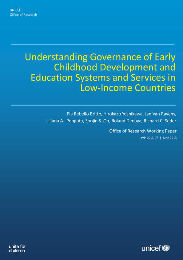 Understanding Governance of Early Childhood Development and Education Systems and Services in Low-Income Countries