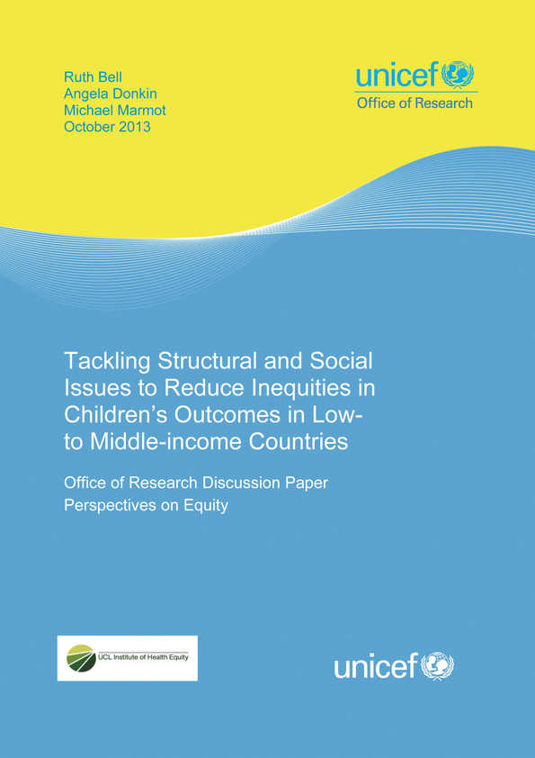 Tackling Structural and Social Issues to Reduce Inequities in Children's Outcomes in Low- to Middle-income Countries