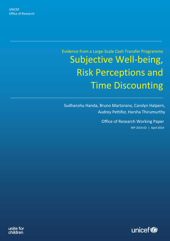 Subjective Well-being, Risk Perceptions and Time Discounting: Evidence from a large-scale cash transfer programme