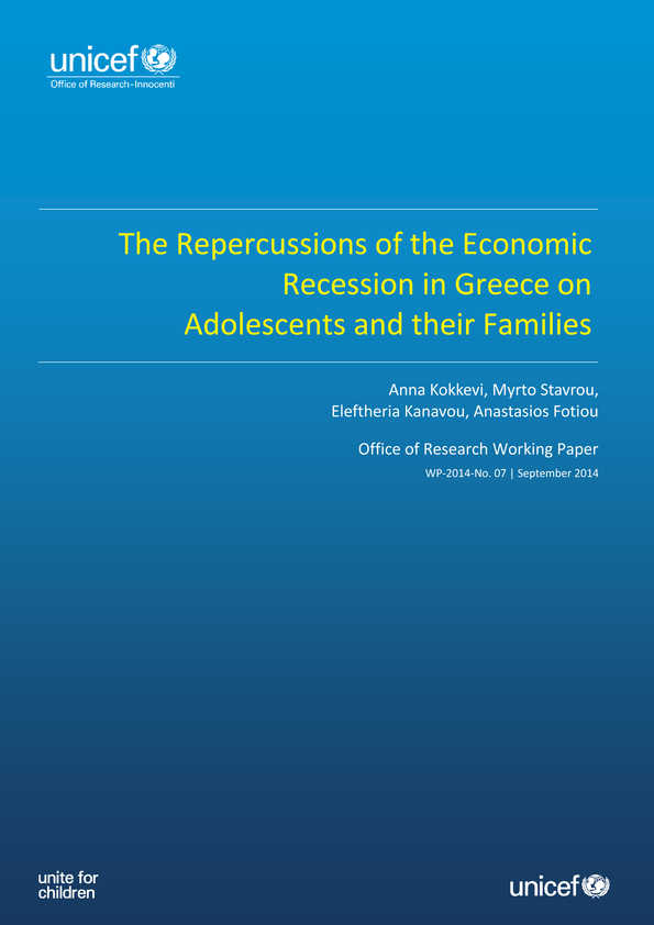 cover The Repercussions of the Economic Recession in Greece on Adolescents and their Families