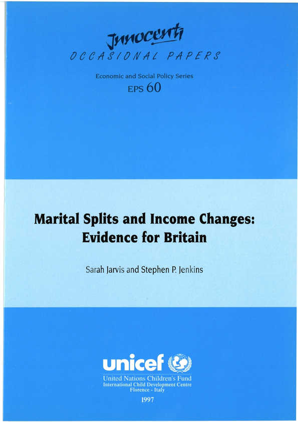 Marital Splits and Income Changes: Evidence for Britain