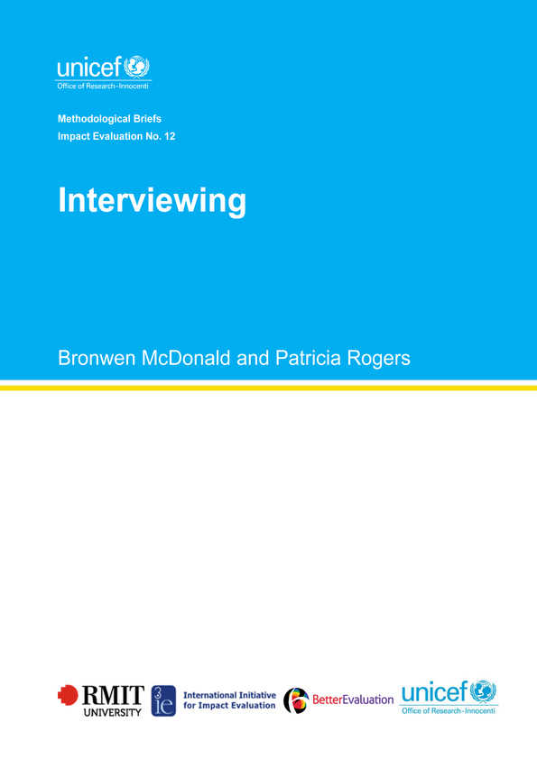 Interviewing: Methodological Briefs - Impact Evaluation No. 12