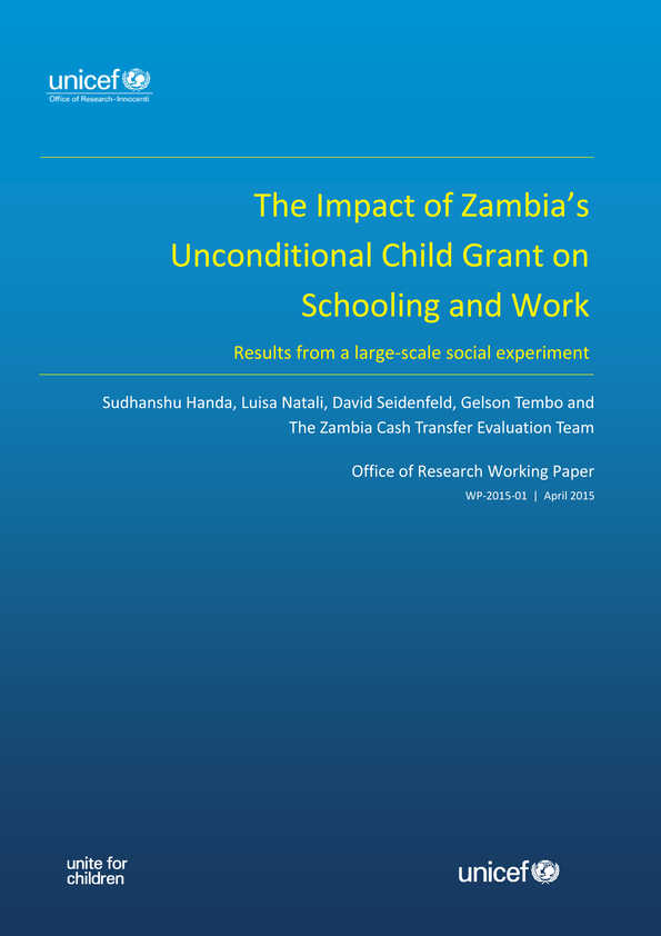 The Impact of Zambia's Unconditional Child Grant on Schooling and Work: Results from a large-scale social experiment