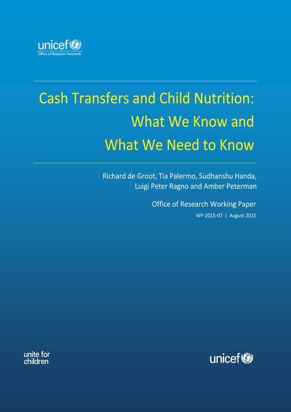 Cash Transfers and Child Nutrition: What we know and what we need to know