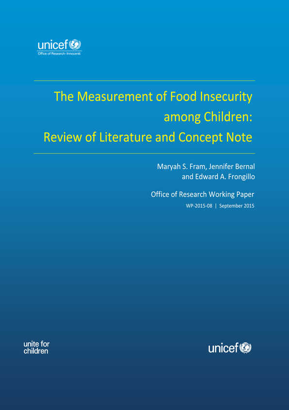 The Measurement of Food Insecurity among Children: Review of literature and concept note