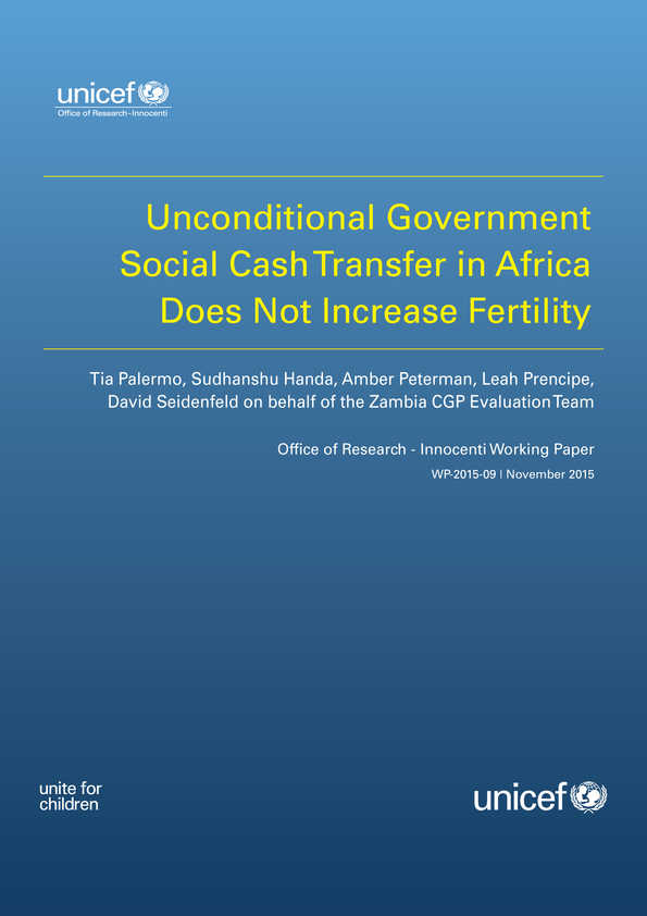 Unconditional Government Social Cash Transfer in Africa Does not Increase Fertility