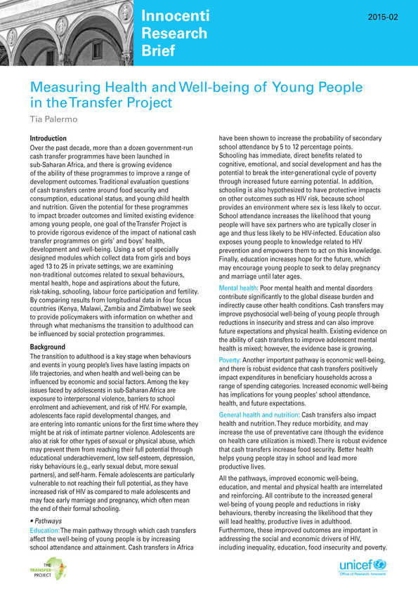 Measuring Health and Well-being of Young People in the Transfer Project