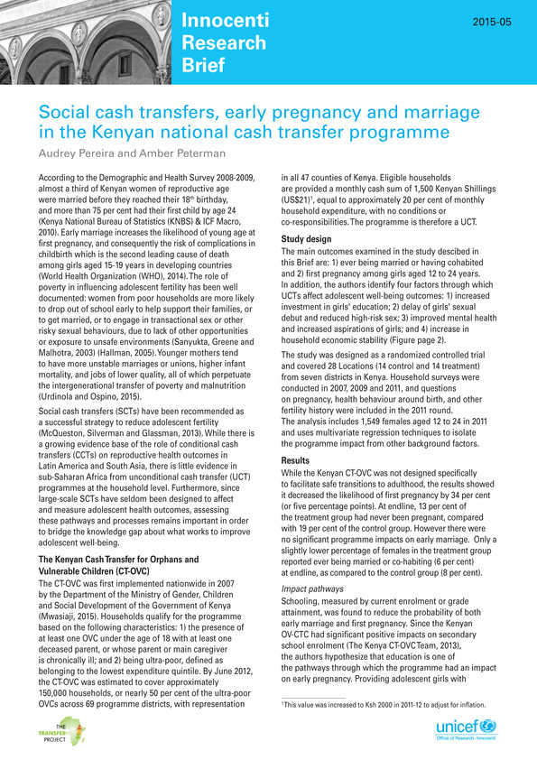 Social cash transfers, early pregnancy and marriage in the Kenyan national cash transfer programme