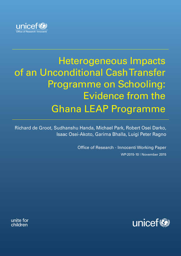 Heterogeneous impacts of an unconditioal cash transfer programme on schooling: evidence from the Ghana LEAP programme