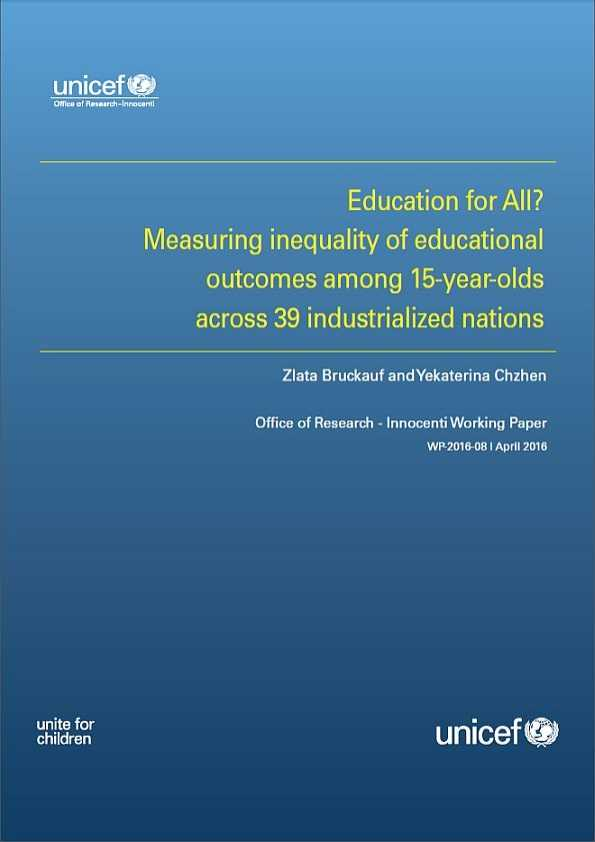 Education for All? Measuring inequality of educational outcomes among 15-year-olds across 39 industrialized nations