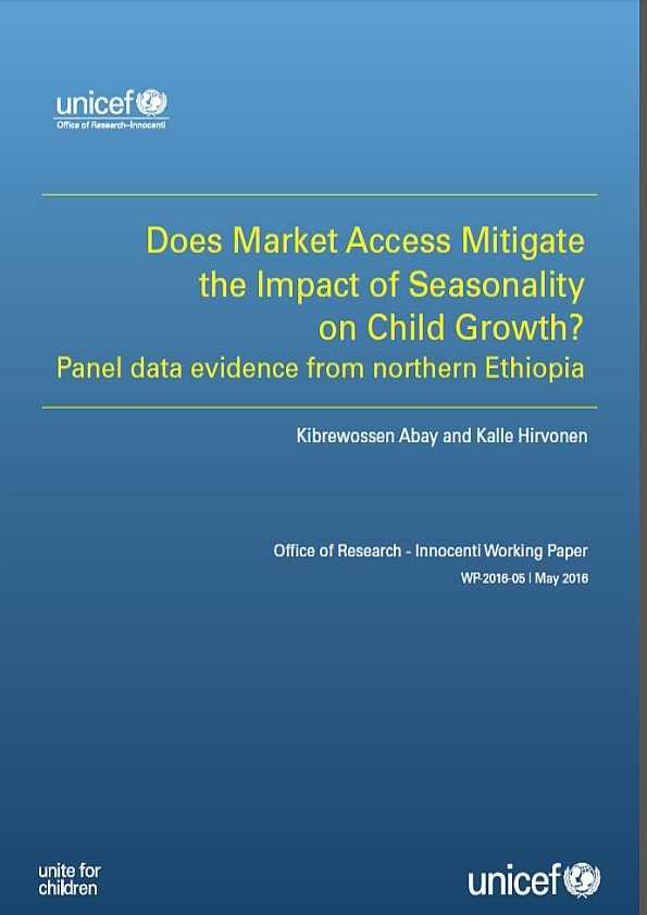 cover Does Market Access Mitigate the Impact of Seasonality on Child Growth? Panel data evidence from northern Ethiopia