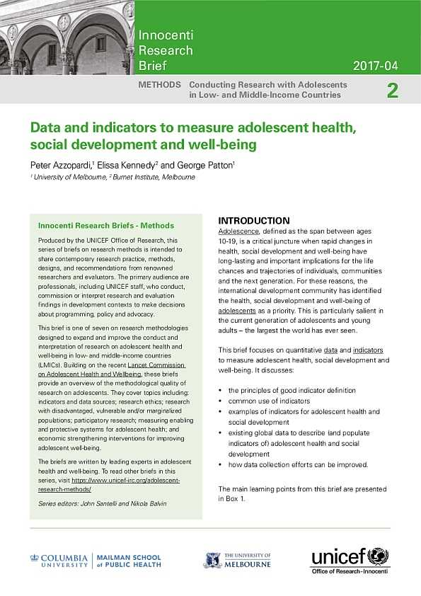 Data and Indicators to Measure Adolescent Health, Social Development and Well-being