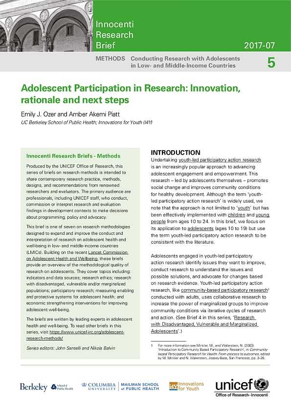 Adolescent Participation in Research: Innovation, rationale and next steps