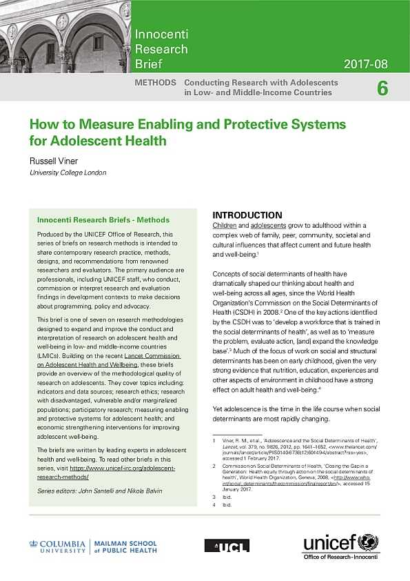How to Measure Enabling and Supportive Systems for Adolescent Health