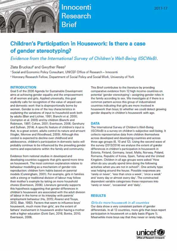 Children's Involvement in Housework: Is there a case of gender stereotyping? Evidence from the International Survey of Children's Well-Being