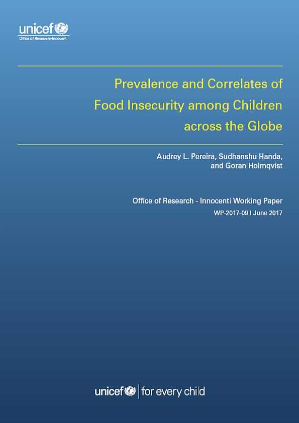 Prevalence and Correlates of Food Insecurity among Children across the Globe