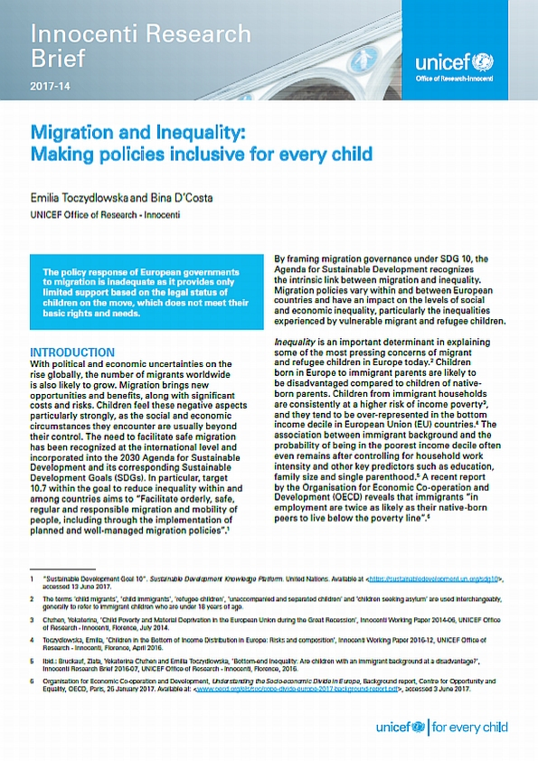Migration and Inequality: Making policies inclusive for every child