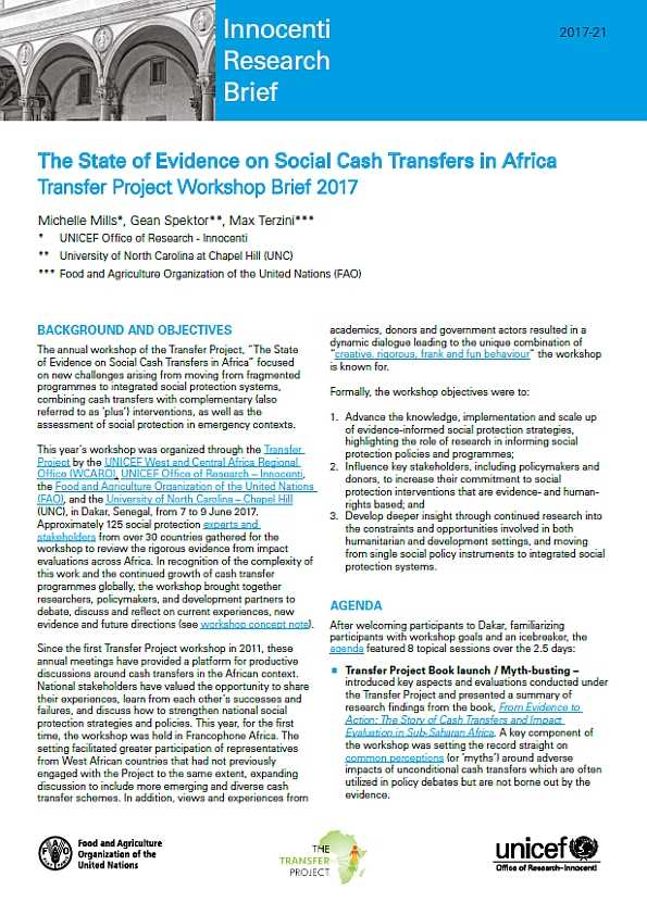 The State of Evidence on Social Cash Transfers in Africa: Transfer Project Workshop Brief 2017