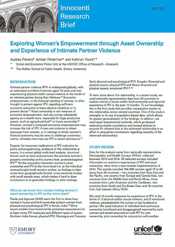 Exploring Women's Empowerment through Asset Ownership and Experience of Intimate Partner Violence