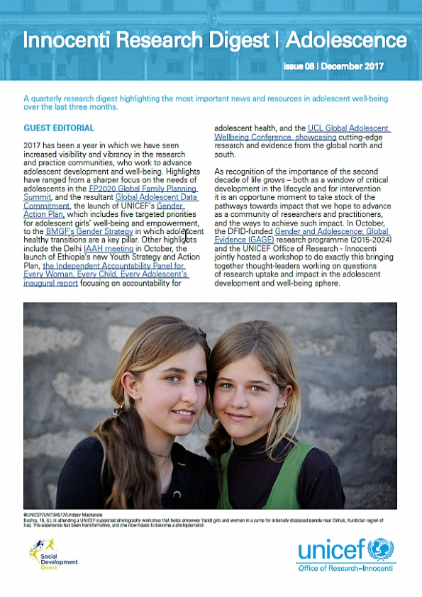 Innocenti Research Digest on Adolescence 8