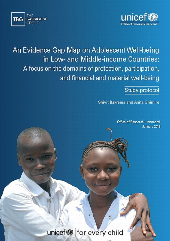 An Evidence Gap Map on Adolescent Well-being in Low- and Middle-income Countries: A focus on the domains of protection, participation, and financial and material well-being. Study Protocol.