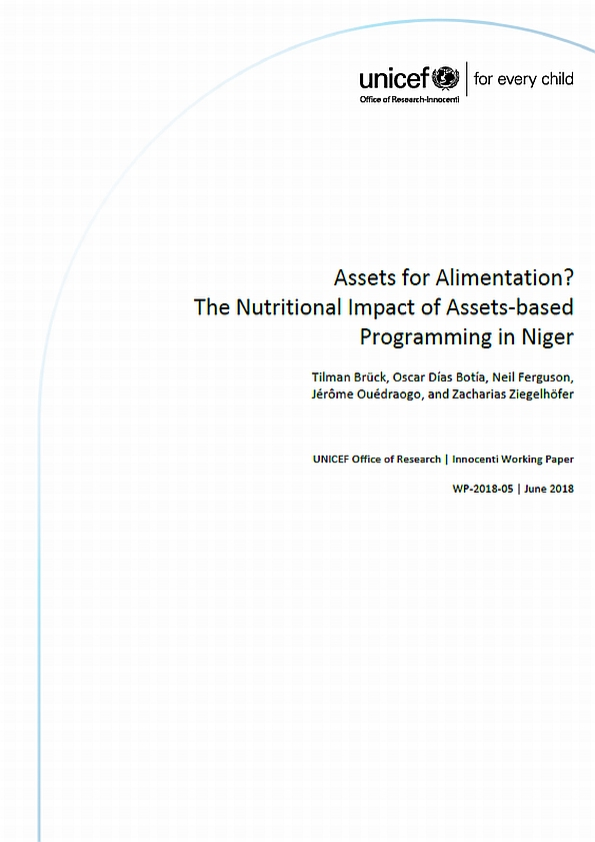 Assets for Alimentation? The Nutritional Impact of Assets-based Programming in Niger