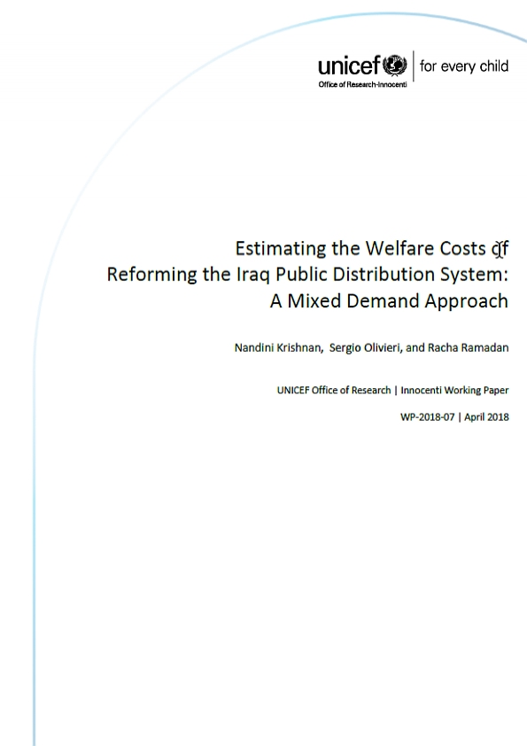 Estimating the Welfare Costs of Reforming the Iraq Public Distribution System: A Mixed Demand Approach