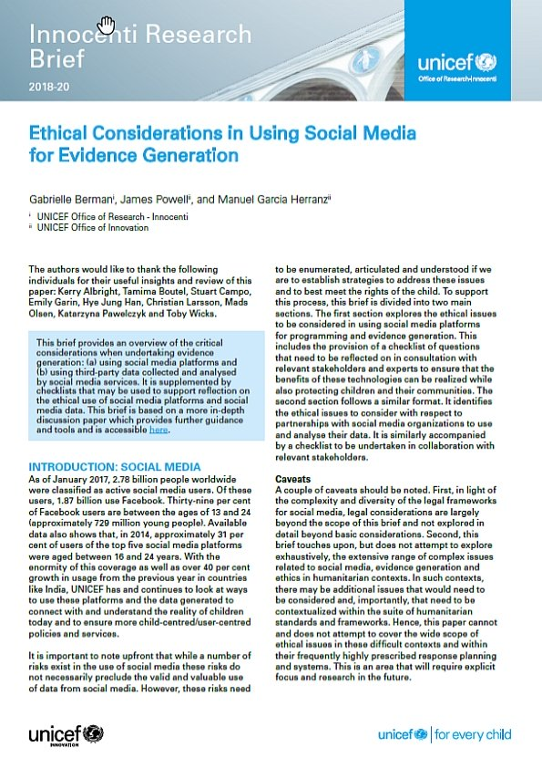 Ethical Considerations When Using Social Media for Evidence Generation