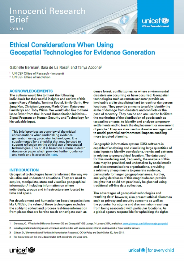 Ethical Considerations When Using Geospatial Technologies for Evidence Generation