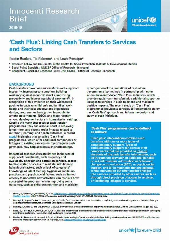 'Cash Plus': Linking Cash Transfers to Services and Sectors