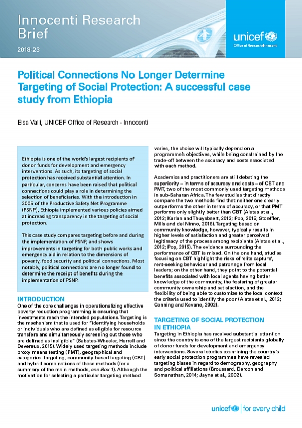 Political Connections No Longer Determine Targeting of Social Protection: A successful case study from Ethiopia