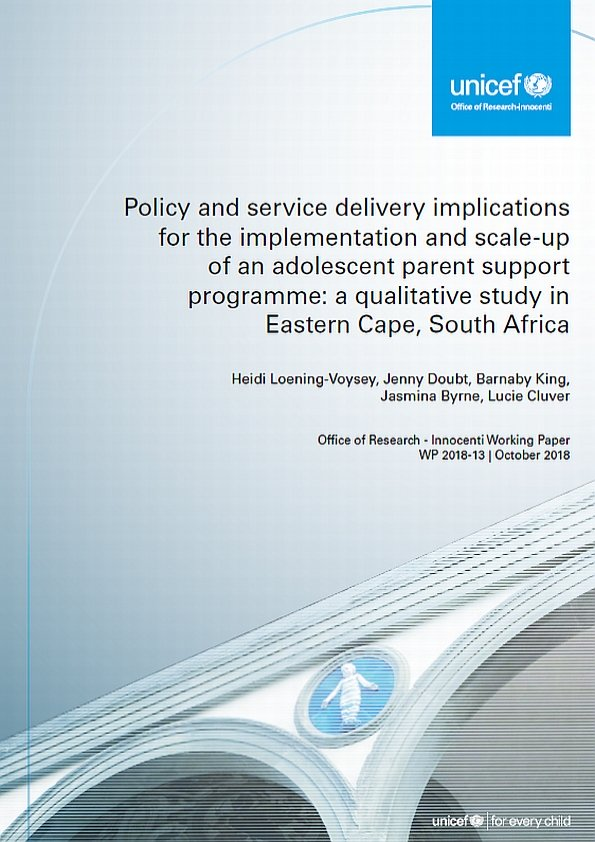 Policy and service delivery implications for the implementation and scale-up of an adolescent parent support programme: a qualitative study in Eastern Cape, South Africa