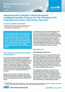 Adolescent girls' potential to disrupt the gender socialization process: Evidence from Plan International UK's longitudinal cohort study, 'Real Choices, Real Lives'