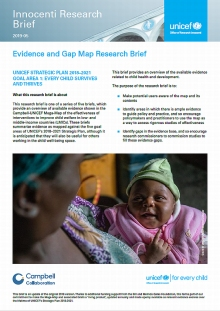 Evidence and Gap Map Research Brief: UNICEF STRATEGIC PLAN 2018–2021 GOAL AREA 1: EVERY CHILD SURVIVES AND THRIVES